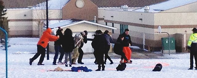 The Dene Traditional Games team members practice the pole-push game during their training for the Arctic Winter Games in Grande Prairie during the weekend of Jan. 30-31.