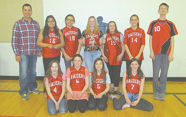 The Prairie River Junior High School Hand Games Team won the Junior-Senior High Hand Games Tournament. In the front row, left-right, are Heather Kay, Elly Beamish, Brayley Emter and Amara Drefs. In the back row, left-right, are coach Jamie Chalifoux, Sekwan Anderson, Jada Courtorielle-Auger, Desiree Bissell, Monique Roy, Alyssa Gray and Cameron Waikle.
