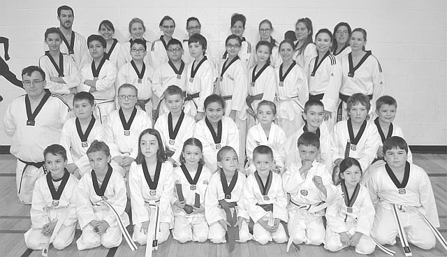 Scorpion members gathered for a photo after testing. In the front row, left-right, are Lucas Billings, Hunter Bellerose, Hailey Billings, Elly Belesky, Abby Bilyk, Levi Bilyk, Reid Oliver, Zaida Quevillon and Tarek Laurin. In the second row, left-right, are Justus Smith, Rylan Arams, Abby Arams, Alexander Linteris, Nya Demeule, Emily Gareau, Liam Bilyk, Owen Cardinal, and Max Janzen. In the third row, left-right, are Nicholas Bellerose, Osama Elhasaeri, Kamaal Sharkawi, JunJun Sharkawi, Zachary Grace, Braelyn Dallaire, Taylor Oliver-Guerin, Melissa Isaac and Diane Belesky. In the back row. left-right, are Cody Quevillon, Kaylee Gauchier-Pitts, Reece Pratt, Jordan Koski, Michelle Dallaire, Kelsey Bilyk, Emma Menzel-Ayles, Brianne Sanders, and Stacy Teters. Missing are Jamie Bilyk, Caiden Masson, and Lyndi Bilyk.