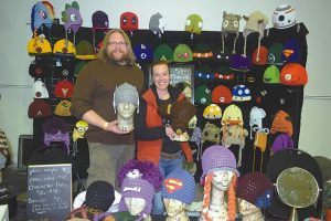 Pictured above are Mules Brown and Crystal Ionson, of the Mad Hatters Crotcheting Adventures in Slave Lake. They were part of the home-based business and crafters show in the curling rink. Other merchants there included children's book and educational materials dealers;and cosmetics and jewelry sellers.