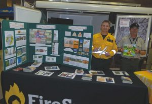 Above, left-right are Lorne L'Hirondelle, a wildfire ranger, and Roland Derry, a wildfire technologist for Alberta Agriculture and Forestry, promoting fire awareness and fire protection.