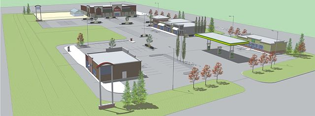 An artist's rendering of the first phase of the East Gate retail development to open in the fall of 2016 in High Prairie. In the back is the Peavey Mart location with a greenhouse.