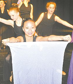 A Royal Dilemma featured beginner ballet dancers. Daneira Dominguez, in front, performs with several other dancers.