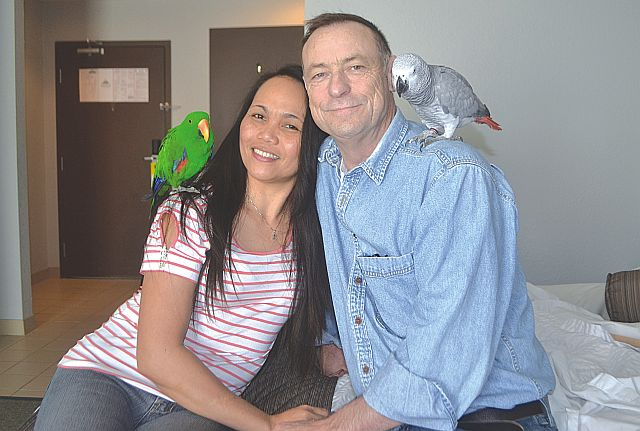 Fort McMurray wildfire evacuees Rebecca, left, and Jim Callin with their two pet parrots in their hotel room in High Prairie