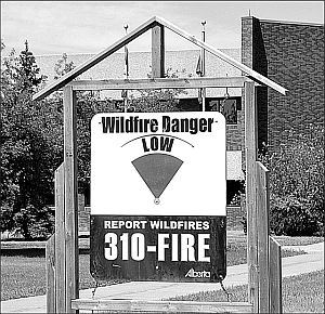 The wildfire danger was set at low May 27 after the several days of rain and wet snow May 19-20.