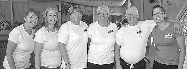 Swim Challenge morning swimmers, left-right, were Eileen Will, Marie Claire Halaburda, Carol Basarab, Dawn Rohloff, and Bob Rohloff with aquatic programmer Ginger Peterson.
