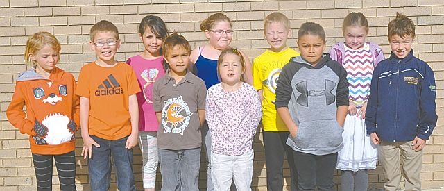 Above are the Grade 1-2 students who recorded perfect scores. In the front row, left-right, are Kaitlyn Senkoe, Owen Roberts, Ryder Peters, Victoria Forget, Kashton Chalifoux and Kolton Ferguson. In the back row, left-right, are Hadil Elhasaeri, Sara Hopps, Leland Potvin and Elly Belesky.