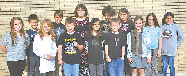Above are the Grade 3-4 students who recorded perfect scores. In the front row, left-right, Allyson Potvin, Max Janzen, Kyla Klingsch, Cager Pilkey and Wilsyn [last name withheld]. In the back row, left-right, are Brooke Cox, Liam Bilyk, Barauh Al-Slaa, Elizabeth Cunningham, Diesel Willier, Aries Bone, Ilona Drefs and Laya Thunder.