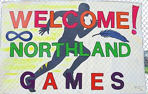 A nice poster greeted everyone to the Northland Games.