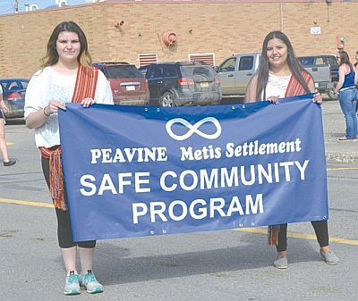 Peavine Metis Settlement demonstrated its commitment to the Safe Community Program. Left-right are Jade Gauchier and Kassadee Gauchier.