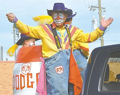 Hgh Prairie's adopted son, rodeo clown Ricky Ticky Wanchuk, was up to his usual antics. He has been a part of the rodeo for decades.