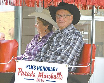 The High Prairie Elks honoured couple Anne Porisky, left, and Carson Porisky for their years of service to the organization and community.