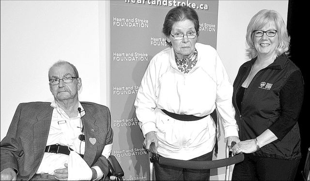 Stroke survivors Brian Holmberg, left, and Janet Poole, centre, with Alberta Heart and Stroke Foundation area manager Margaret Bell.