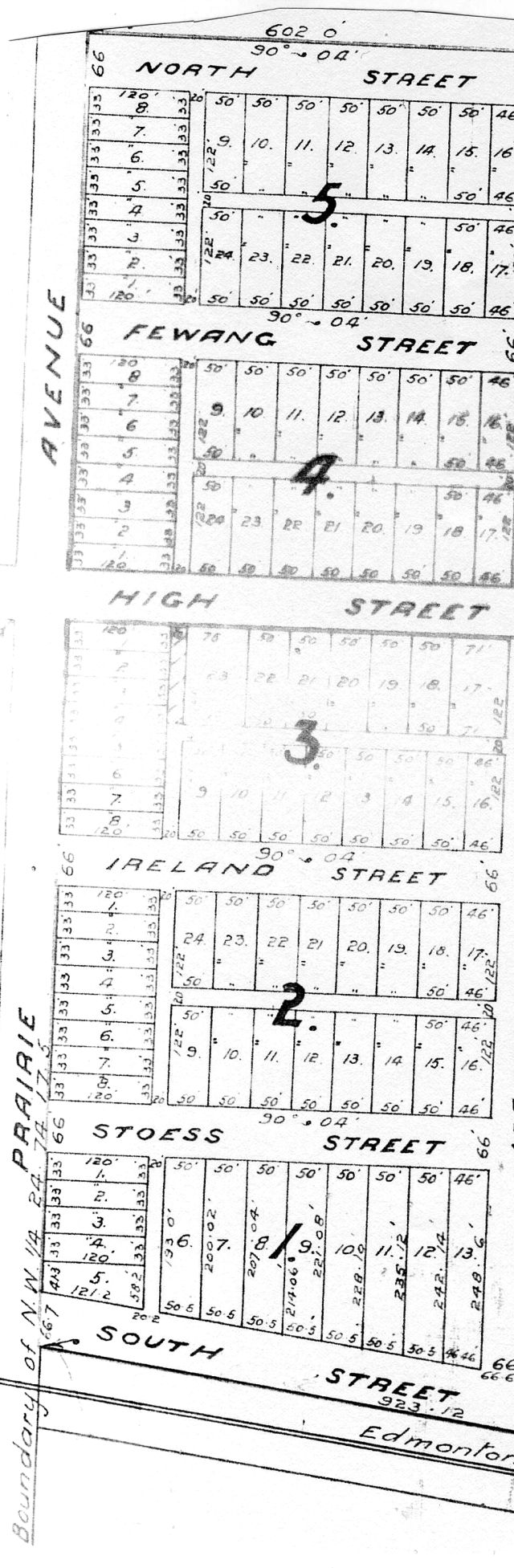 A 1916 map clearly outlines the names of High Prairie's first streets.