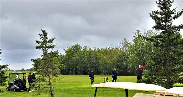 The final team finishing up the 27-hole,  3-Ball, Best Ball Tournament at Smoky River Regional Golf Course on August 27.