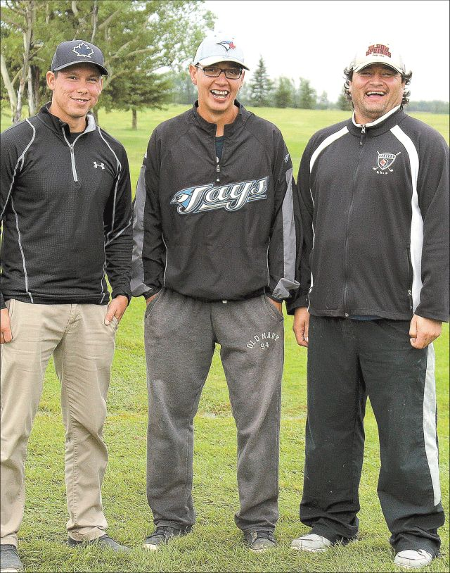 First place winners at the Smoky River Regional Golf Course, 3-Ball Best Ball Tournament. Left to Right: Gordy Laderoute, Scott Laderoute and Kelly Cunningham.