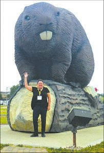 Sheila Willis of Smith, with the Beaverlodge beaver.