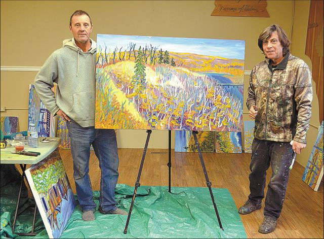 """Bert Anderson, left, invited Pierre """"A.J."""" Sabourin to Watino to paint a series of landscape artworks of the area, including the Smoky River valley"""