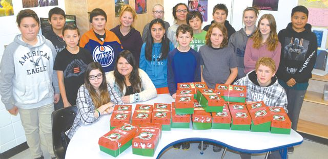 Shoeboxes packed for Operation Christmas Child