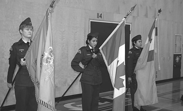 Flags were carried by the Royal Canadian Air Cadets 539 High Prairie. Left-right, are F/Sgt. Karen Waikle, AC Trinity Deltess, and LAC Kasia Cardinal.