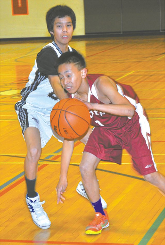 Prairie River's David Espina, right, dribbles past Gift Lake's Caige Anderson during action Nov. 23. PRJH defeated the defending champions 69-54.