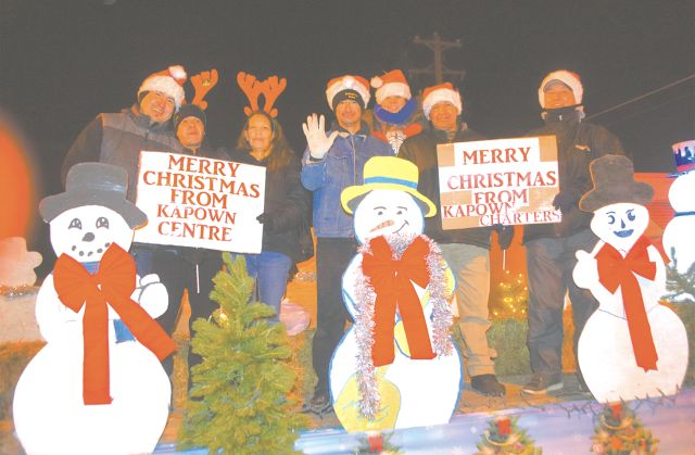 Kapown Centre and Kapown Charters shared Christmas greetings in the Santa Claus Parade during High Prairie Light-Up Nov. 25.
