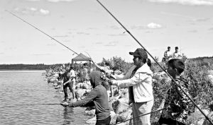 A perfect day at the lake for fishing derby