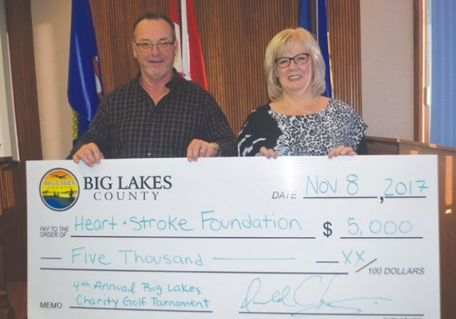 County presents cheques from charity tournament