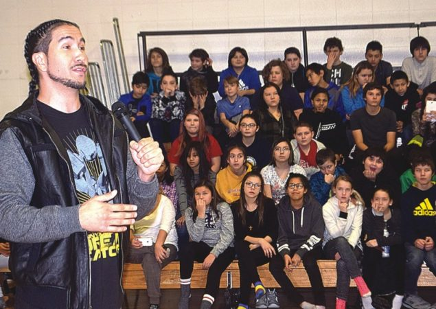 Dunk star scores big with students