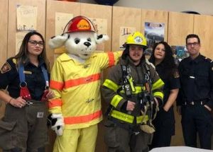Sparky pays a visit to Joussard School
