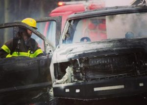 Accident near Faust results in flames